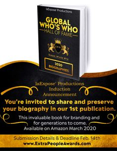 Add your bio to this great edition details on www.ExtraPeopleAwards.com Extraordinary People, Youre Invited, People Around The World, Submissive, Biography, Announcement, Awards, Invitations, Biography Books