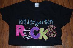 Kindergarten ROCKS shirt SCHOOL by KristisKreations3 on Etsy