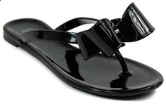 a914959e1 Kali  Footwear Women Ribbon Bow Flat Jelly  Sandal (9