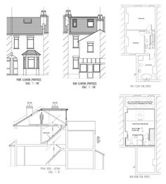 L shaped loft conversion plans edwardian terrace Loft Conversion Drawings, Loft Conversion Floor, Terraced House Loft Conversion, Loft Conversion Bedroom, Loft Conversions, Loft Conversion Victorian House, Victorian House Plans, Edwardian House, Victorian Homes