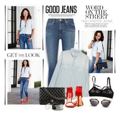 """""""Get the Look: High-Waisted Jeans"""" by margaretferreira ❤ liked on Polyvore featuring Hanky Panky, AG Adriano Goldschmied, MANGO, Chanel, Gillian Julius, Smith/Grey, Christian Dior, StreetStyle, highwaistedjeans and summertofall"""