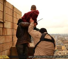 Islamic State released images of a series of horrific executions. They show two men hurled from a roof for being gay, a woman stoned to death and two 'bandits' tied to crosses before being shot. Lgbt, Moslem, Sharia Law, Two Men, Human Rights, Flirting, Religion, Death, Social Media