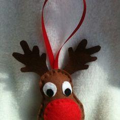Christmas Rudolph Bauble  Handmade By ©Shellybobbins™ £4.50
