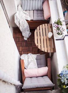 balkon sofa diy holzkiste kleine fläche ideen