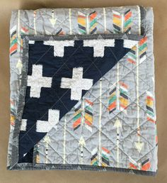 READY TO SHIP, Modern Whole Cloth Baby Quilt featuring Arrows and Crosses.  Tribal hipster baby bedding with navy blue, grey, green, orange