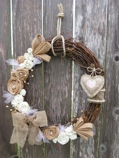 Pretty in Pink! This little cutey boasts 20 handcrafted burlap and felt flowers. Each burlap flower has a glass pearl bead at its center. Burlap Flowers, Felt Flowers, Fabric Flowers, Burlap Crafts, Diy And Crafts, Valentine Day Wreaths, Valentines, Christmas Crafts, Christmas Decorations