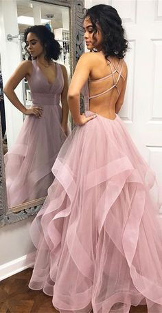 The material of this charming prom dress is tulle, which is featuring v-neck neckline and floor-length skirt with sweep train in a-line silhouette. Finished with zipper closure. #prom #promdresses #promgowns #evening #eveningowns #eveningdresses #vneck #openback #aline #lightpink #tiered #tulle #2019 #bohoprom