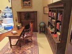 Miniature Dollhouse Library Scene