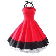 Maggie Tang Women's 1950s Vintage Rockabilly Dress Size M Color Red
