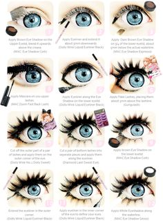 Puppe Auge, Make-up-Tutorial, Mode Make-up, große Augen, Visual Kei. Dolly Augen Make-up Related Anime Eye Makeup, Doll Eye Makeup, Gyaru Makeup, Smokey Eye Makeup, Makeup Art, Beauty Makeup, Makeup Ideas, Winged Eyeliner, Ulzzang Makeup