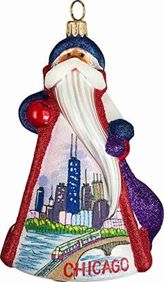 Glitterazzi Chicago Illinois Santa Polish Glass Christmas Ornament Decoration * Be sure to check out this awesome product.