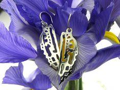 Silver Drop Earrings, Gossamer Wings, Sterling Silver Dangle Earrings, Lacy Motif Seashell Earrings, 3D, Bridal, Mother's day, Fine Jewelry