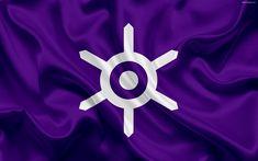 Download wallpapers Flag of Tokyo Prefecture, Japan, 4k, purple silk flag, Tokyo, emblem, symbols, logo, symbols of the Japanese prefectures
