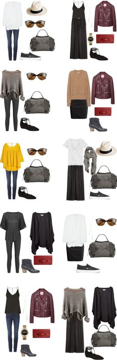 A few items here, I LOVE! The long black flowy dress... check! Booties.. .check! Oversized open-weave sweater from Spain.. check! Basic palette with pops of color... check! Skipping the maroon leather jacket, maxi skirt and hat though....
