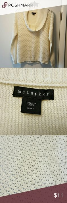 Ladies Cowl Neck Sweater Cowl Neck Sweater. NWOT. Cream Color Material With Gold Metallic Fibers. Acrylic and Polyester. Never Been Worn But Tags Are Missing. Size XL. Brand Metaphor. Metaphor Sweaters Cowl & Turtlenecks