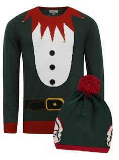 Christmas Elf Jumper and Matching Bobble Hat £14.00