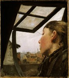 L.A. Ring, Ung pige, der ser ud af et tagvindue, 1885, olie på lærred, 33 x 29 cm,