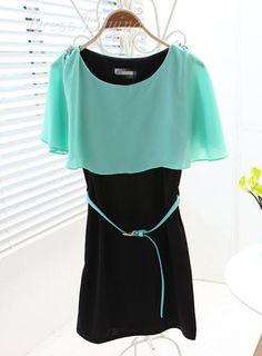 Boutique Korean Style Slim Round Neckline Cape Dress