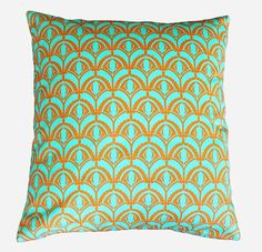 Tangerine and aqua geometric decorative pillow by TheLinenHouse, $20.00