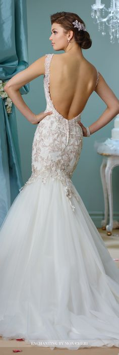 Enchanting by Mon Cheri Fall 2016 Wedding Gown Collection - Style No. 216153 -sleeveless tulle and lace trumpet wedding dress with deep plunging V-back