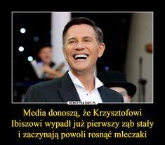 Media donoszą, że Krzysztofowi Ibiszowi wypadł już pierwszy ząb stałyi zaczynają powoli rosnąć mleczaki – Funny Pictures, Humor, Memes, Fanny Pics, Funny Pics, Humour, Meme, Funny Photos, Funny Images