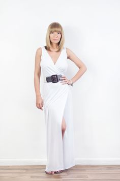aa367bd8b29 Front-split White Jersey Maxi Dress - Made to Order - Sizes 0-12