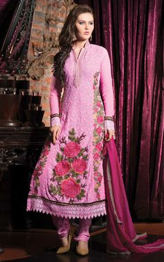 PINK GEORGETTE EMBROIDERED SALWAR KAMEEZ - WHRO 6005A