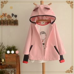Japanese kawaii cat ear hooded cloak woolen coat
