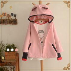 Japanese kawaii cat ear hooded cloak woolen coat