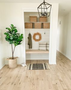 Closet Nook, Entry Closet, Front Closet, Modern Farmhouse Decor, Farmhouse Style Decorating, Small Mudroom Ideas, Closet Transformation, Drop Zone, Home Upgrades