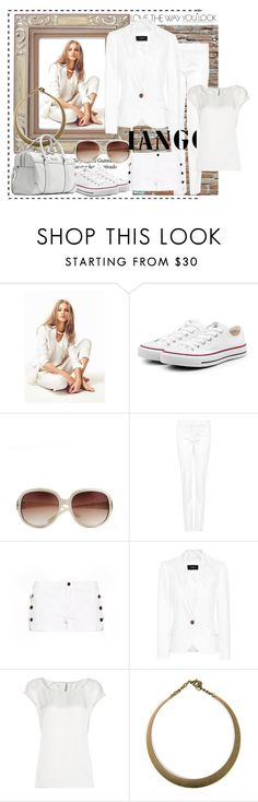 """A women just like you..."" by stylemeup-649 ❤ liked on Polyvore featuring MANGO, Converse, blouson, trousers, necklaces, sunglass, shorts, suit jacket, converse sneakers and bowling handbag"