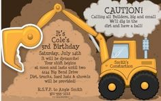 construction party theme: invitation cards - Linda Kaye's Partymakers