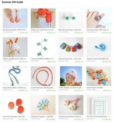 Summer gift guide Etsy treasury. Currated by Leisa of Candostitching. April 2013. Featuring a coral necklace from my shop.