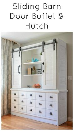 Sliding barn door buffet and hutch fixer upper magnolia shiplap farmhouse diy modern farmhouse decor, Diy Furniture On A Budget, Diy Furniture Plans, Diy Furniture Projects, Furniture Makeover, Home Projects, Office Furniture, Wood Furniture, Fixer Upper, Diy Design