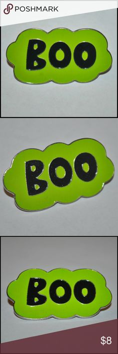 🆕 BOO Enamel Lapel Pin BNWOT - metal and enamel // tags: halloween holiday creep creepy ghost spirit words word pins brooches brooch green scary horror fan speech statement statements nwot new goth gothic dark alternative punky punk rock cool rebel awesome unique unisex amazing wicked witchy creeper witch witchcraft fun mens womens accessories accessory customize diy custom badass neat rad cute kids kid spook spooky spirits ghostly love trends trendy trend bubble Jewelry Brooches