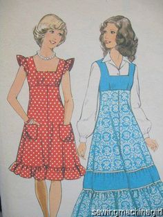 VINTAGE 1970s STYLE PATTERN PINAFORE DRESS IN TWO LENGTHS SZ BUST 31.5 HIP 33.5
