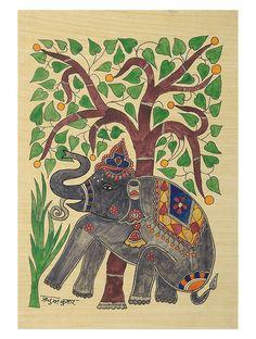 Elephant in the Forest (Madhubani Artwork on Handmade Paper)