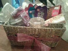 Pampered gift basket: dollar face masks from walmart, candle, cozy socks, homemade body scrub, mani pedi gift card and chocolates