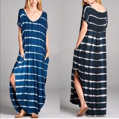 KANA tie dye chic Boho dress - NAVY/BLACK TIE DYE DRESS WITH POCKET Fabric 96% RAYON 4% SPANDEX Made in USA. NAVY BLUE & BLACK available now. Bellanblue Dresses Maxi