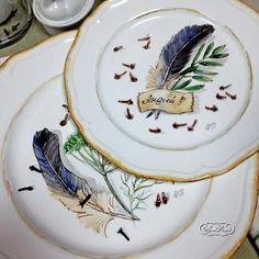 Рассадочные тарелки для свадьбы в экостиле. Даминова Флёра