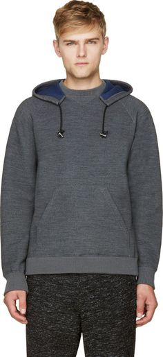 Sacai: Gray Wool Knit Neoprene Hoodie Sweater | SSENSE: