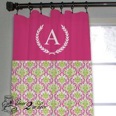 Preppy Pink & Green Custom Window/Closet Panel Add a custom monogram