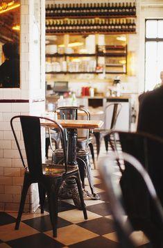 Schiller's Liquor Bar | New York love the floor, the chairs, the tile, the shelves, everything