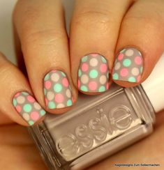 58 Amazing Nail Designs for Short Nails (Pictures Dot Nail Art, Polka Dot Nails, Blue Nails, Polka Dots, Short Nail Designs, Simple Nail Designs, Nail Art Designs, Nails Design, Design Art