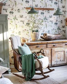 Vibeke Design, Dere, Cottage Interiors, Soft Colors, Rocking Chair, Rustic Furniture, Entryway Bench, Home Projects, Palette