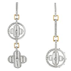 White Gold Rhodium and 14k Gold Bonded Fashion Dangle Earrings with CZ Accents in Silvertone and Goldtone. #mycustommade