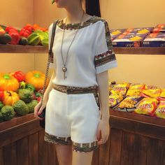 Mujeres conjuntos de Verano Tela de La Camiseta y pantalón Dos Piezas Calidad nación estilo de la Moda de Manga corta Mujer Casual trajes de Marca