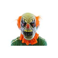 Przerażająca, gumowa maska klauna z pomarańczowymi włosami, obejmująca całą głowę. Idealna na imprezy halloween'owe i nie tylko...