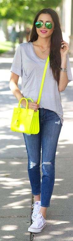 Saint Laurent Neon Yellow Calfskin Small Tote Purse by Pink Peonies