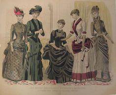 """Fashion Plate extraído de la revista """"Peterson's"""". 1884"""